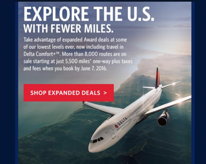 Delta Air Lines SkyMiles Award Sale