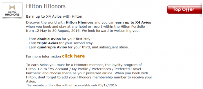 Hilton HHonors Iberia Plus Up To Quadruple Avios May 12 - August 31 2016