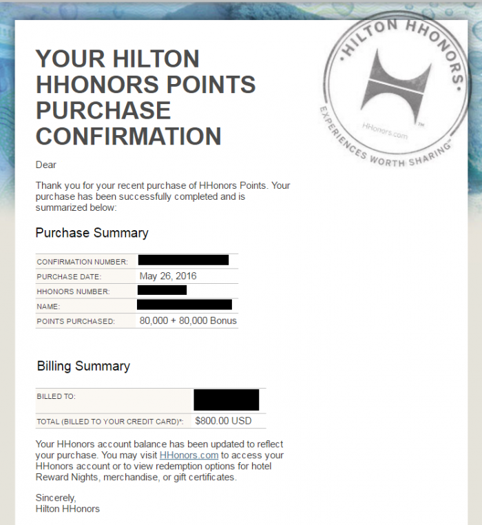 Hilton HHonors Points Purchase Confirmation