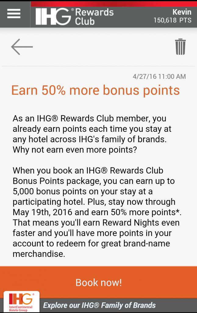 IHG Rewards Club Bonus Points Package Bonus May 19 2016