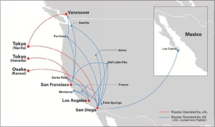 Japan Airlines & Alaska Airlines Partnership Map