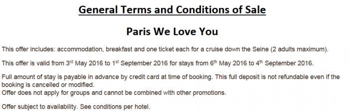 Le Club AccorHotels Paris Sale Terms