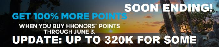 SOON ENDING Hilton HHonors Buy Points 100 Percent Bonus April 21 - June 3 2016