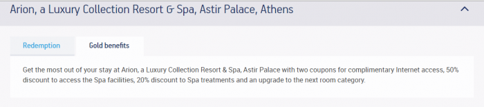 Aegean Miles+Bonus Starwood Greece Arion Gold