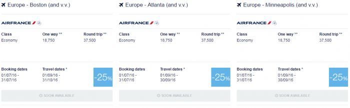 Air France-KLM July 2016 Promo Awards North America 1