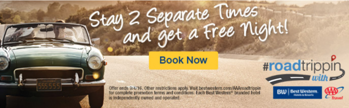 Best Western Rewards Road Trippin Free Night Certificate Promo June 1 - September 4 2016