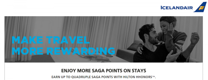 Hilton HHonors Icelandair Up To Quadruple Saga Club Points May 27 - September 30 2016