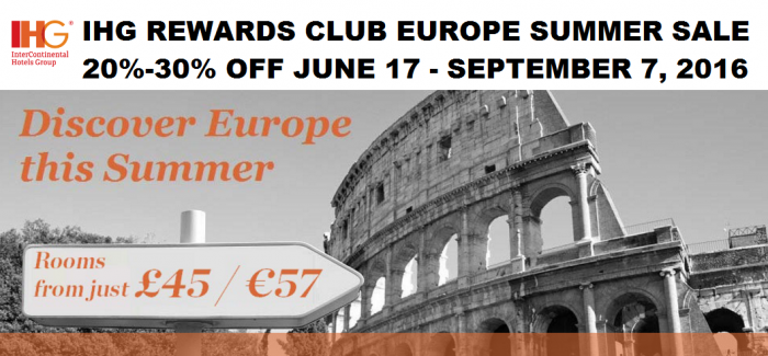 IHG Rewards Club Europe Ultimate Summer June 17 - September 7 2016