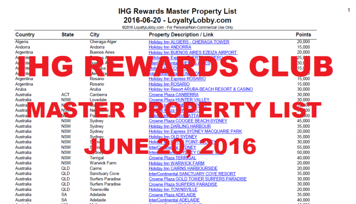IHG Rewards Club Master Property List June 20 2016