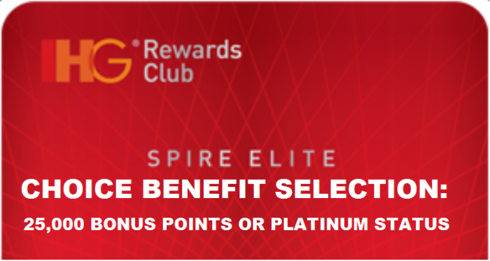 IHG Rewards Club Spire Elite Choice Selection Card