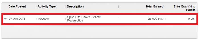 IHG Rewards Club Spire Elite Choice Selection Spire Elite Choice Benefit Selection Confirmation Account Statement