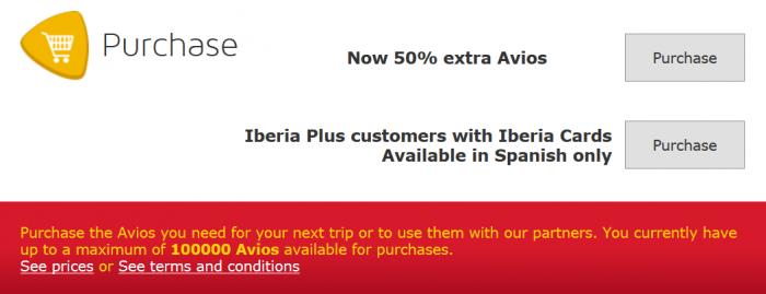 Iberia Plus Up To 50 Percent Avios Purchase Bonus