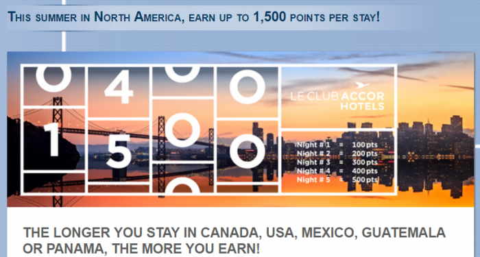 Le Club AccorHotels North & Central America Up To 1,500 Bonus Points Per Stay June 15 - September 15 2016