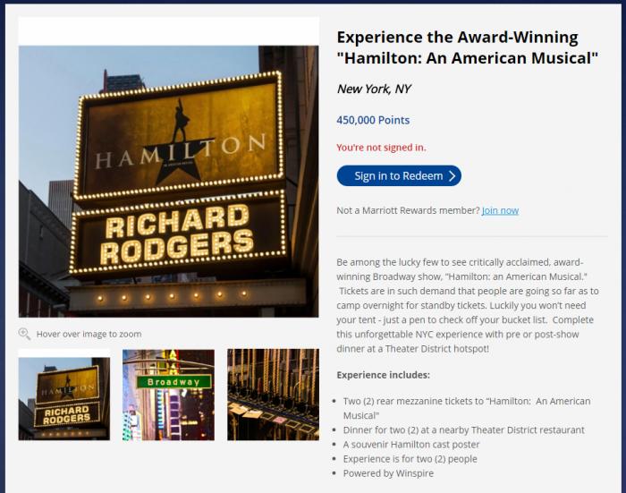 Marriott Rewards Experiences Entertainment Hamilton
