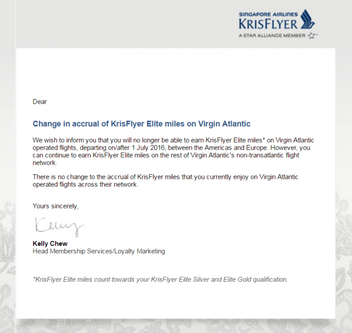 Singapore Airlines KrisFlyer Virgin Atlantic Change July 1 2016