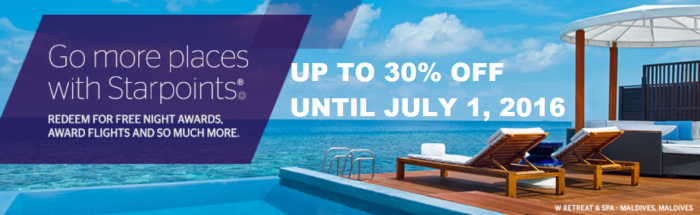 Starwood Preferred Guest Buy Starpoints 30 Percent Off Until July 1 2016