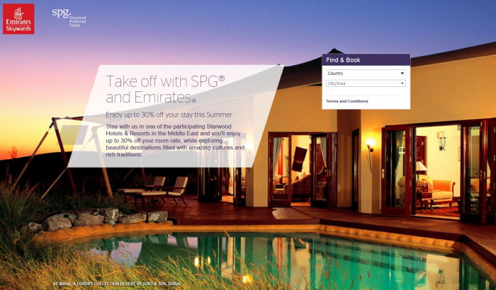 Starwood Preferred Guest Middle East Up To 30 Percent Off Sale