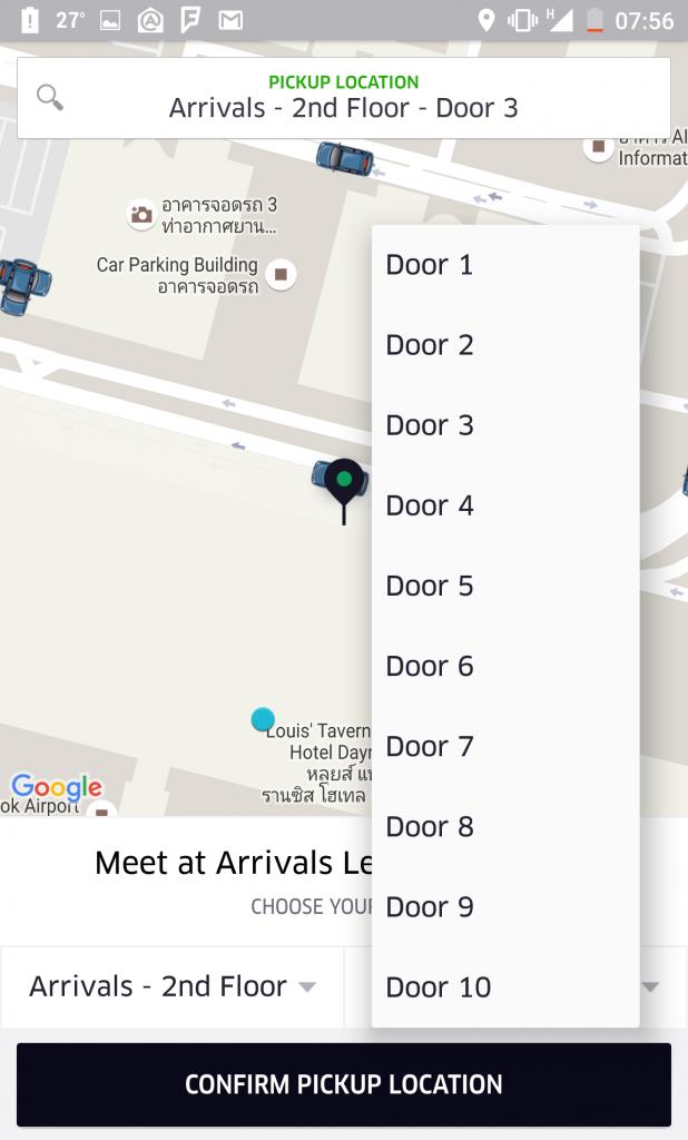 Catching Uber From Bangkok's Suvarnabhumi Airport Uber Door 3