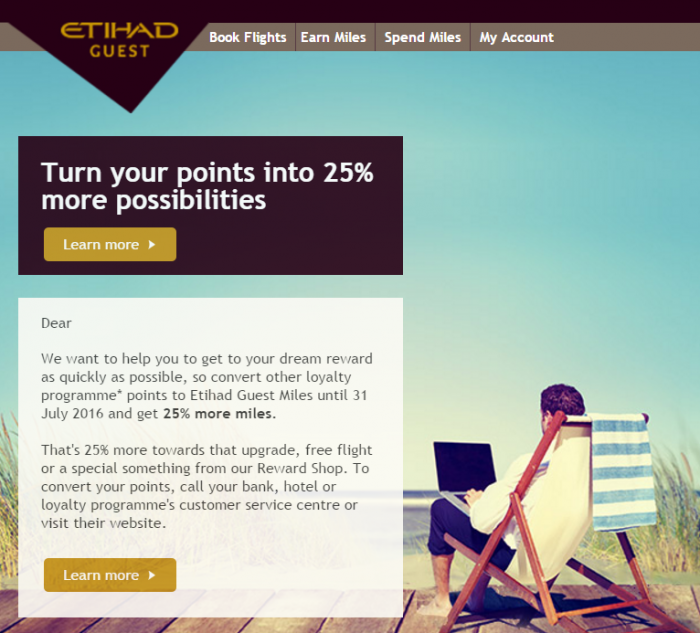 Etihad Airways Guest Points To Miles 25 Percent Conversion Bonus July 1 - 31 2016