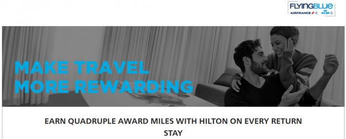 Hilton HHonors Air France-KLM Flying Blue Quadruple Miles EMEA May 27 - September 15 2016