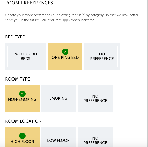 Hyatt Room Preferences