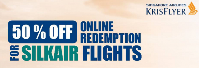 Singapore Airlines KrisFlyer 50 Percent Off Select SilkAir Flights