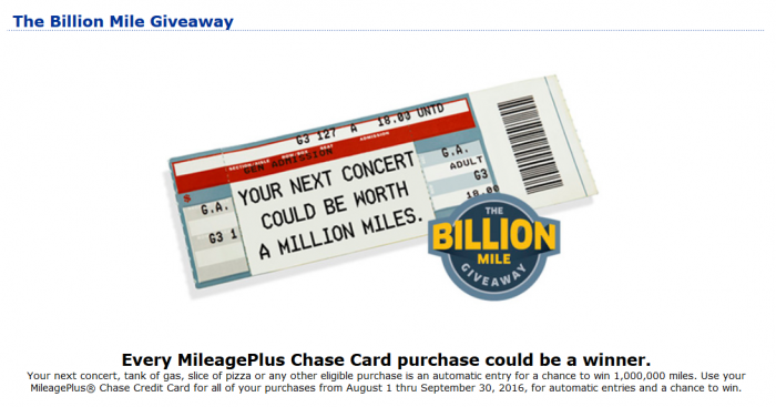 United Airlines MileagePlus Billion Miles Giveaway