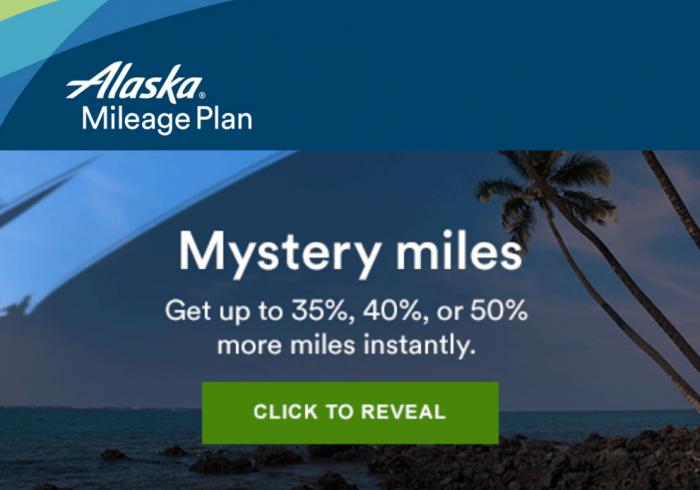 Alaska Airlines Mileage Plan Mystery Bonus August - September 2016