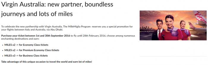 Alitalia MilleMiglia Virgin Australia Double & Triple Miles
