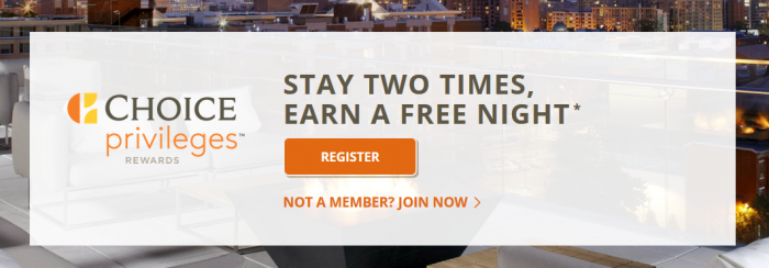Choice Hotels Choice Privileges September 1 - November 11 2016 Promotion