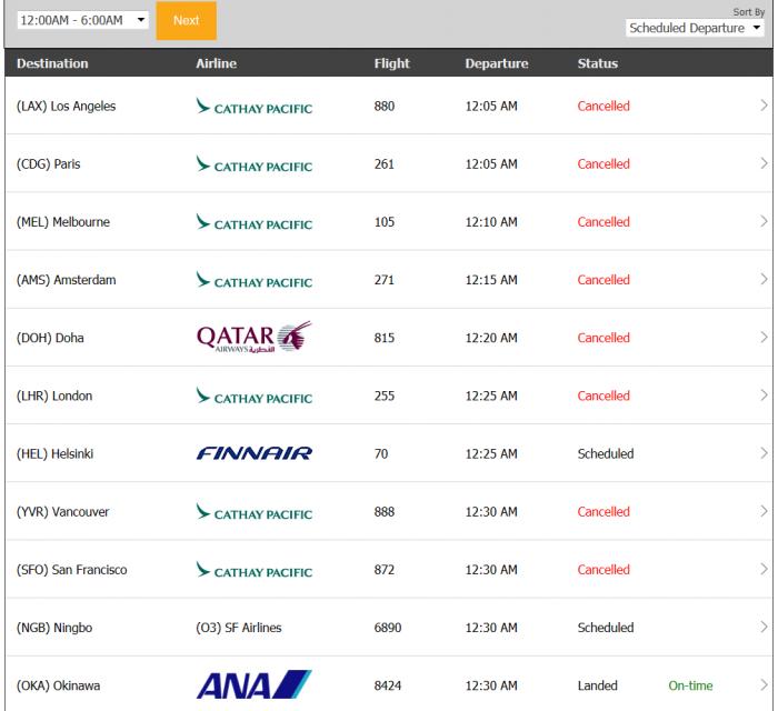 HKG Typhoon Flightstats