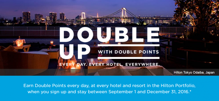 Hilton HHonors Double Up September 1 - December 31 2016 Registration Now Open