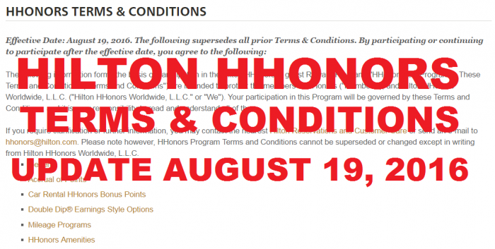 Hilton HHonors T&Cs Update August 19 2016