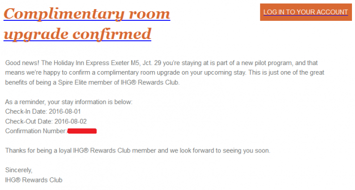 IHG Rewards Club Spire Elite Complimentary Upgrade Email Body
