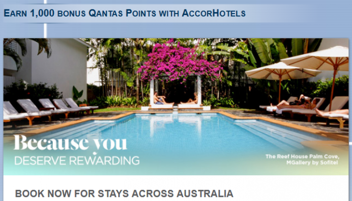 Le Club AccorHotels Qantas 1,000 Bonus Points Per Stay July 16 – September 30, 2016