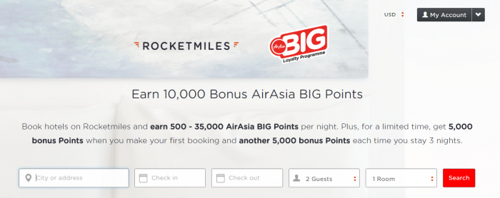Rocketmiles AirAsia 5,000 Bonus Points