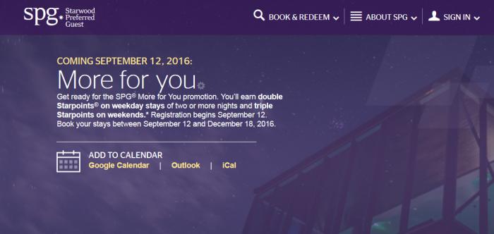 SPG More For You Promotion September 12 - December 18 2016