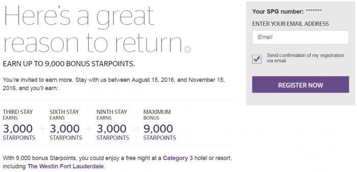 Starwood Preferred Guest SPG Select Member Exclusive Fall 2016 Offer U