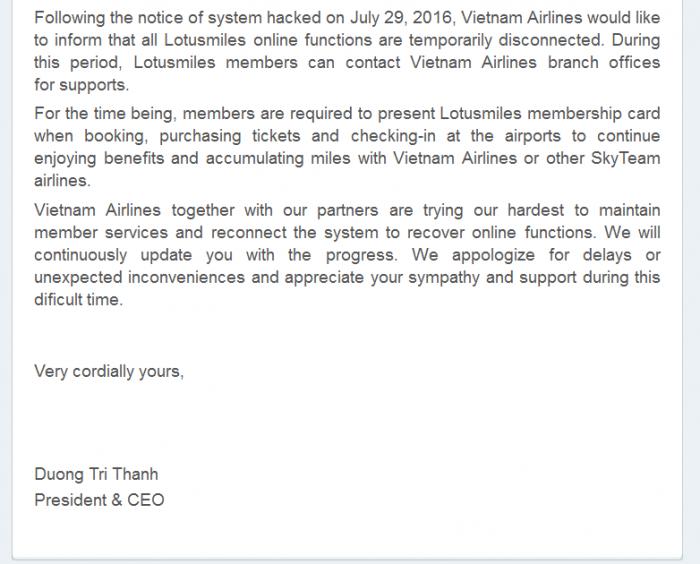 Vietnam Airlines Lotus Miles Text