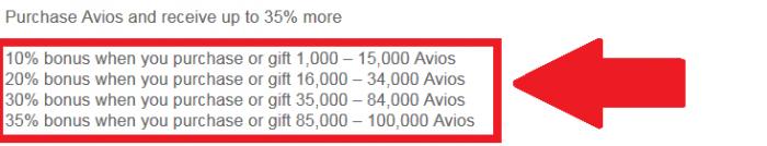 British AIrways Executive Club Buy Avios September 2016 Table