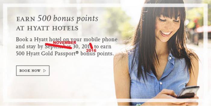 Hyatt Gold Passport 500 Bonus Points App Bookings September 1 - November 30 2016