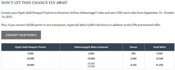 Hyatt Gold Passport American Airlines Conversion Bonus September 15 - October 14 2016