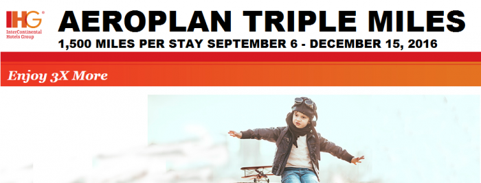 IHG Rewards Club Air Canada Aeroplan Triple Miles September 6 - December 15 2016
