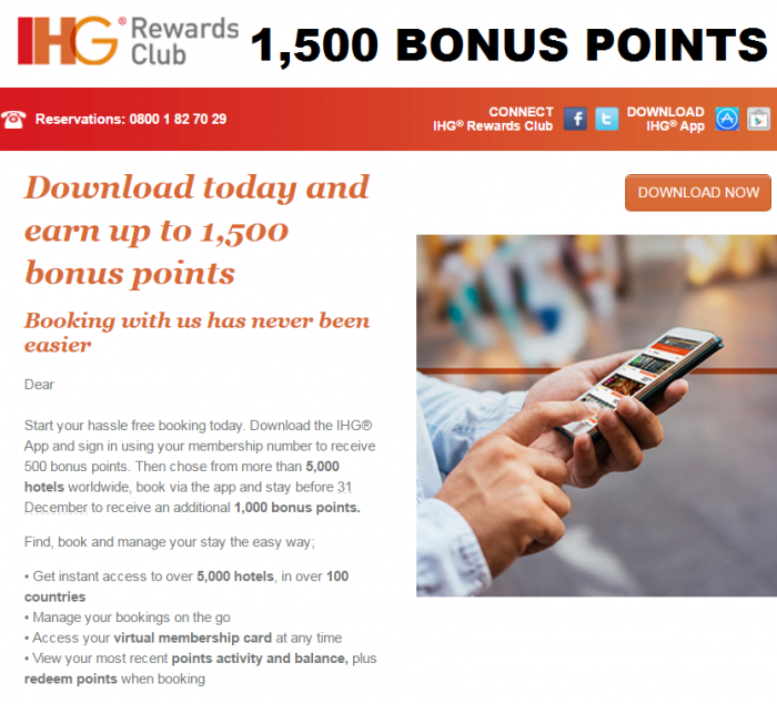IHG Rewards Club App 1,500 Bonus Points