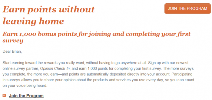 IHG Rewards Club Surveys 1000 Bonus Points Email Body