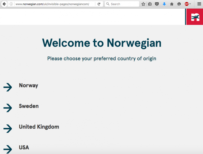 Norwegian Country Selection