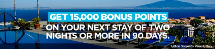 Hilton HHonors WInback 15,000 Bonus Points January 13 - January 11 2018