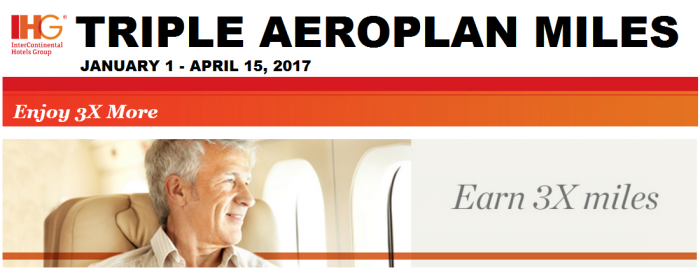 IHG Rewards Club Triple Aeroplan Miles January 1 - April 15 2017