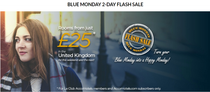 Le Club AccorHotels Blue Mondays 2 Day Sale