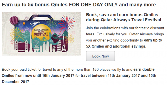 Qatar Airways Privilege Club Quintuple Miles One Day Only Travel Festival